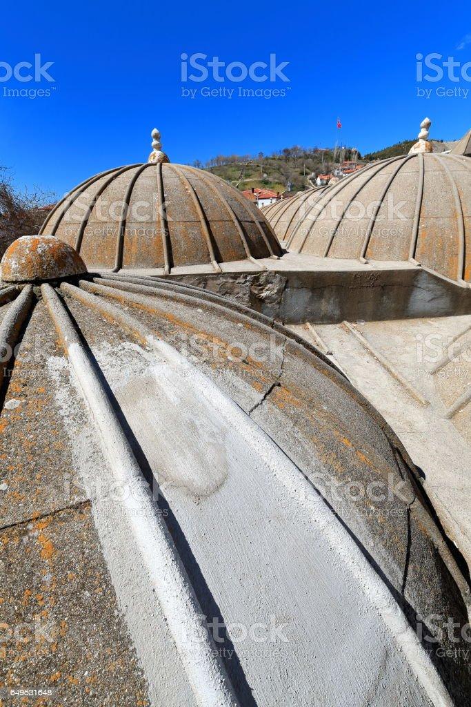 Small domes over the madrasa-Ketenci Ömer Pasa mosque. Elmali-Turkey. 1866 stock photo