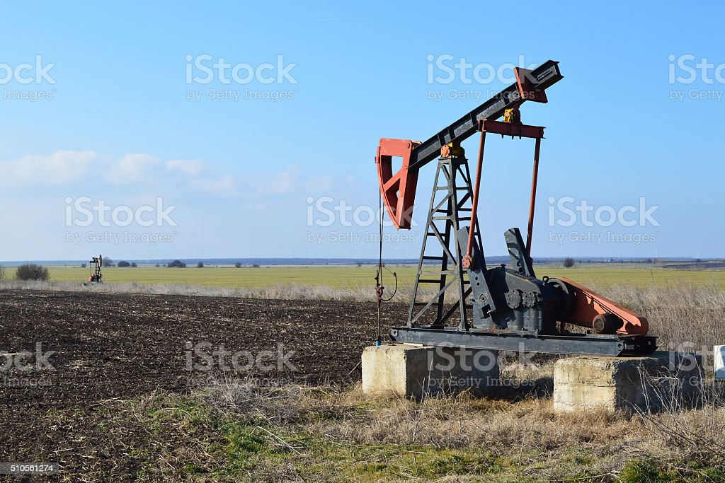 Small donkey pumper in the fields near Sabla, Bulgaria stock photo