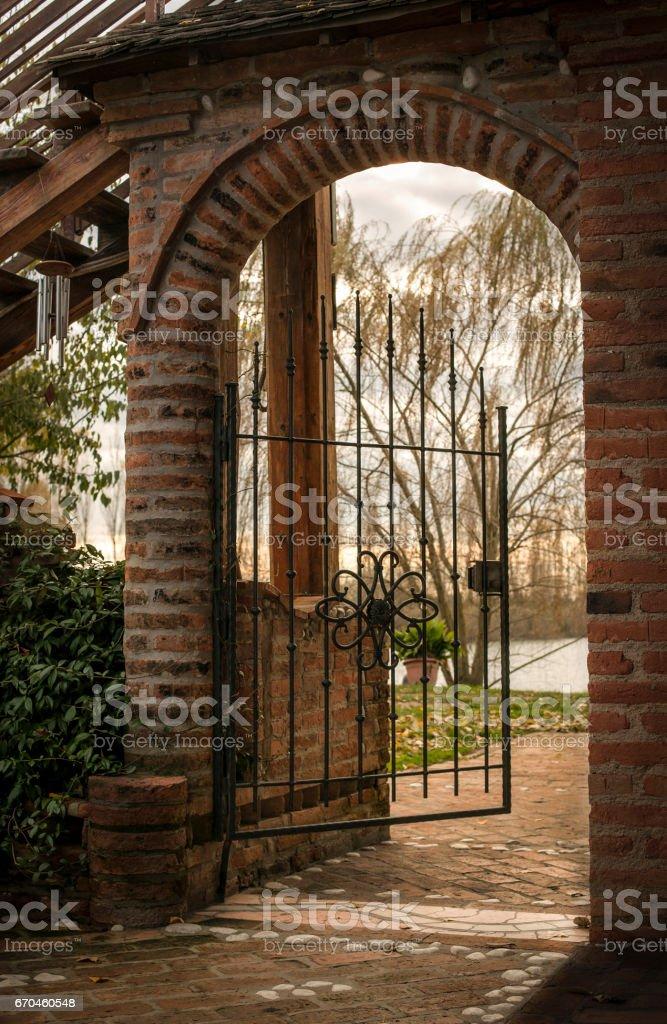 Small door open passage. stock photo