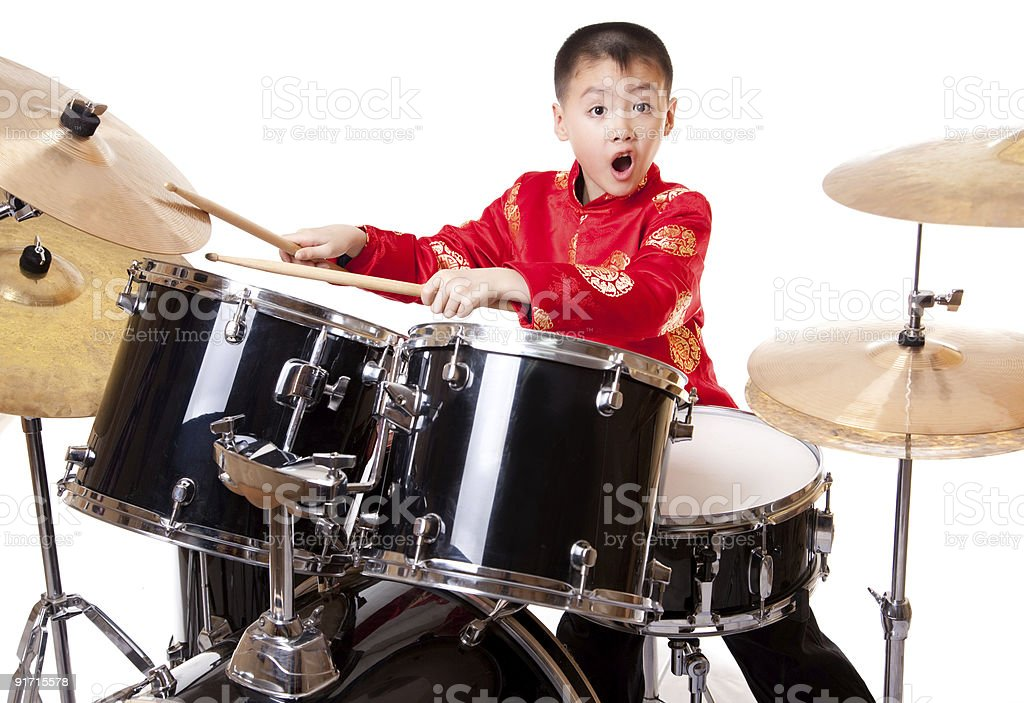 small drummer three stock photo
