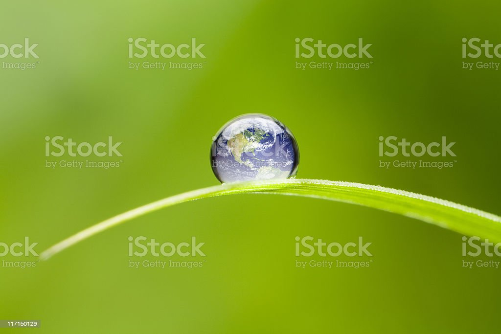 Macro 4x of a waterdrop on a green blade of grass reflecting our...