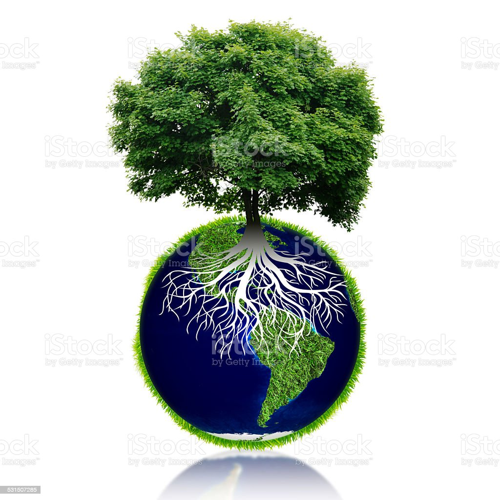 Small eco planet with tree and roots on it. stock photo