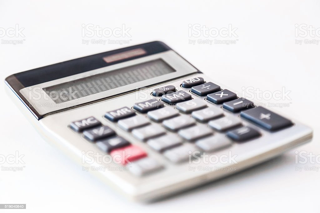 Small electronic calculator, isolated on a white stock photo