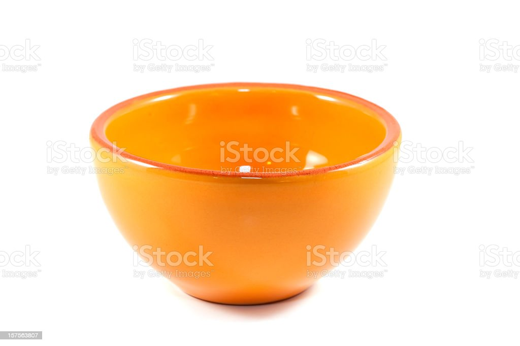 Small empty orange serving bowl royalty-free stock photo