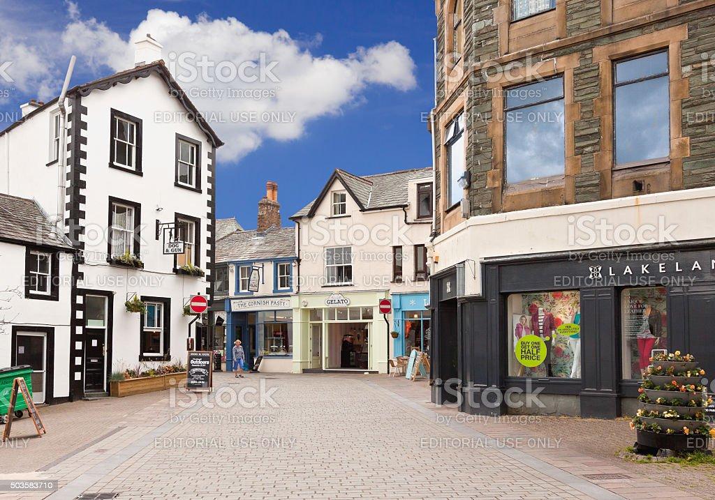 Small English Town Street, Keswick, Lake District, England. stock photo