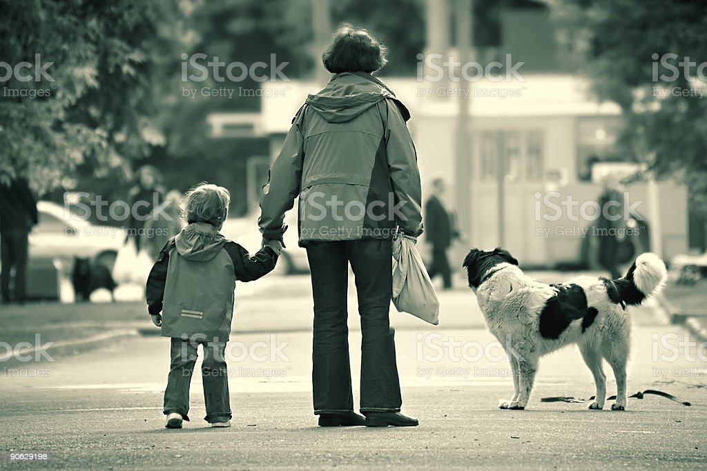 Small family in the big city royalty-free stock photo