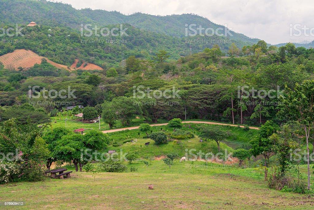 Small farm and village in the mountain photo libre de droits