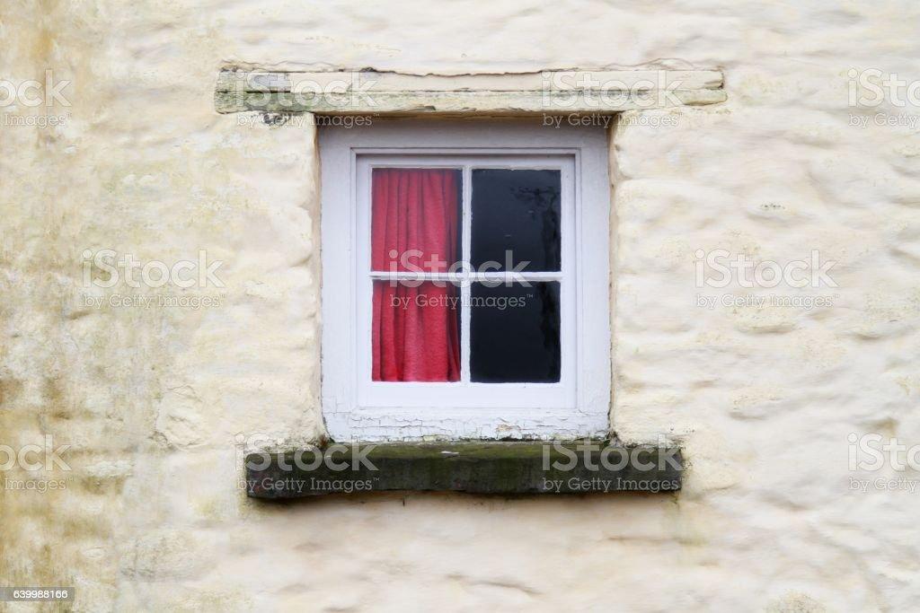 small farmhouse window stock photo