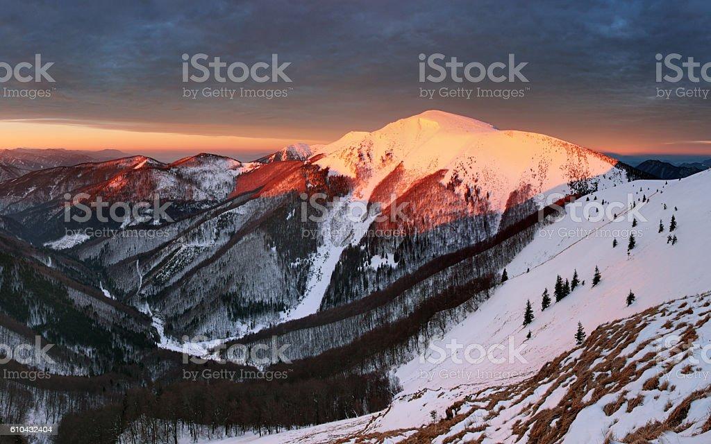 Small Fatra panorama at sunrise stock photo