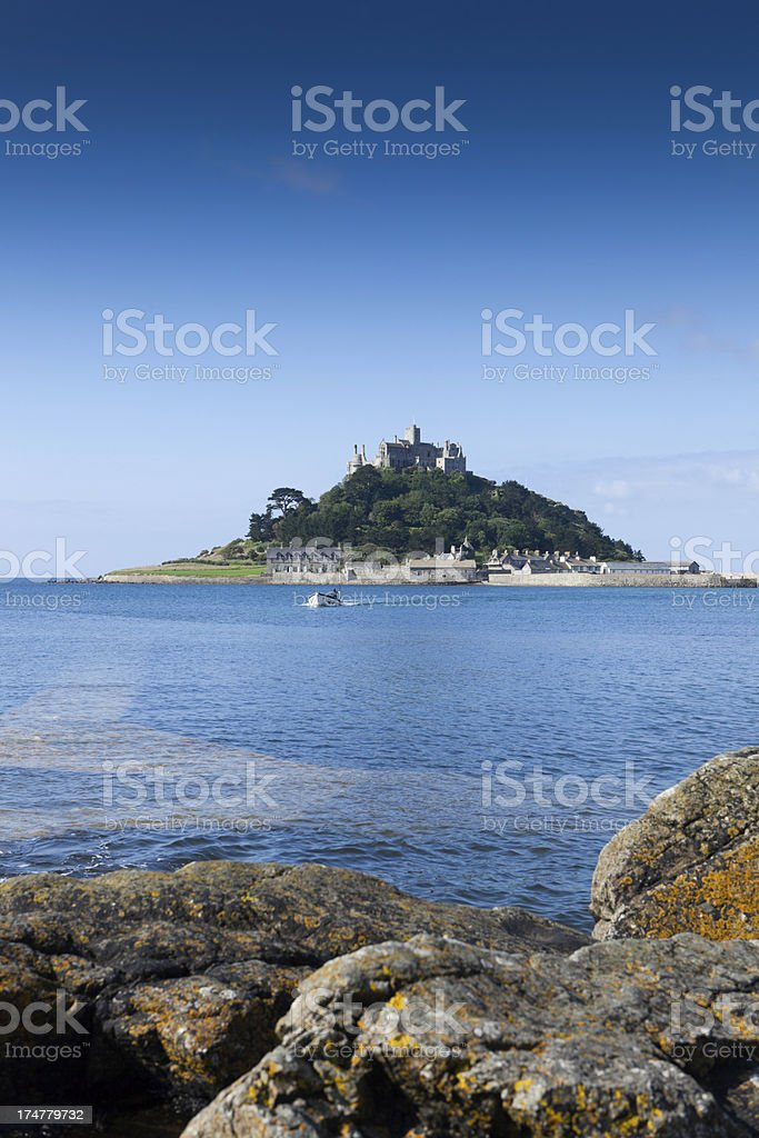 small ferry boat heading for St. Michael's Mount stock photo