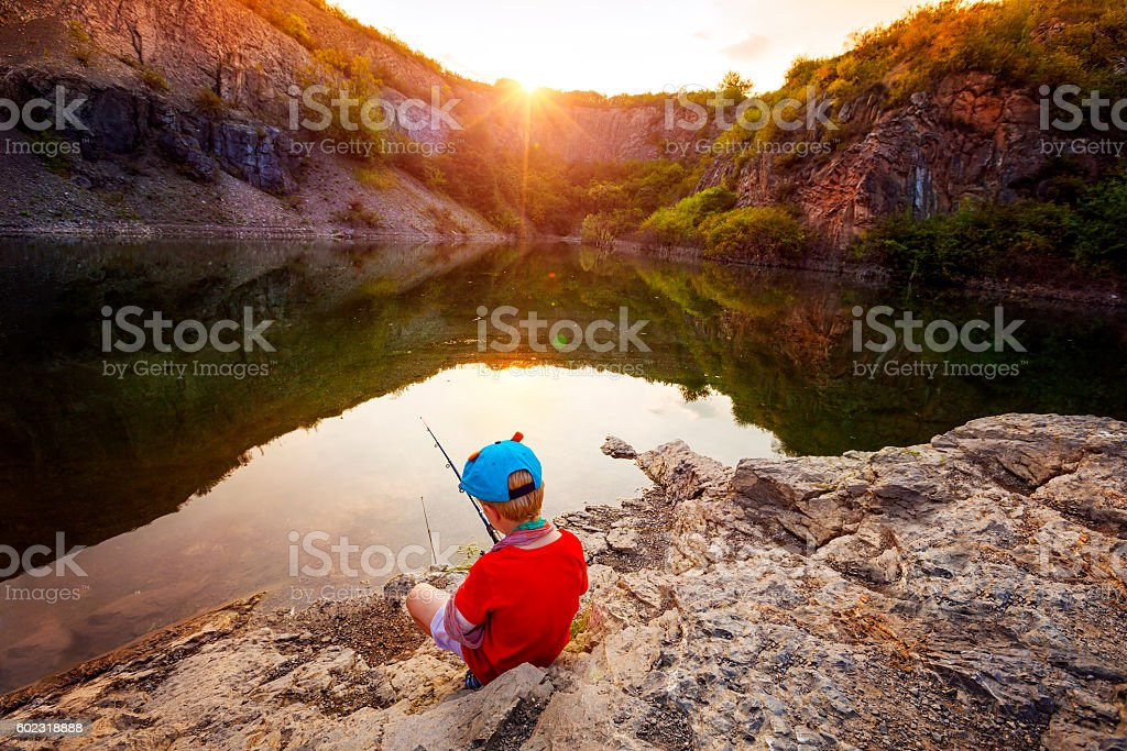 Small fisherman stock photo