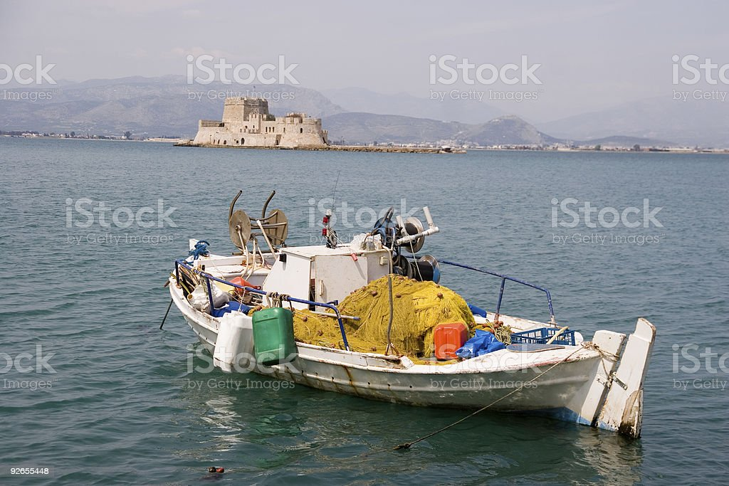 Small fishing boat in Nafplio, Greece stock photo