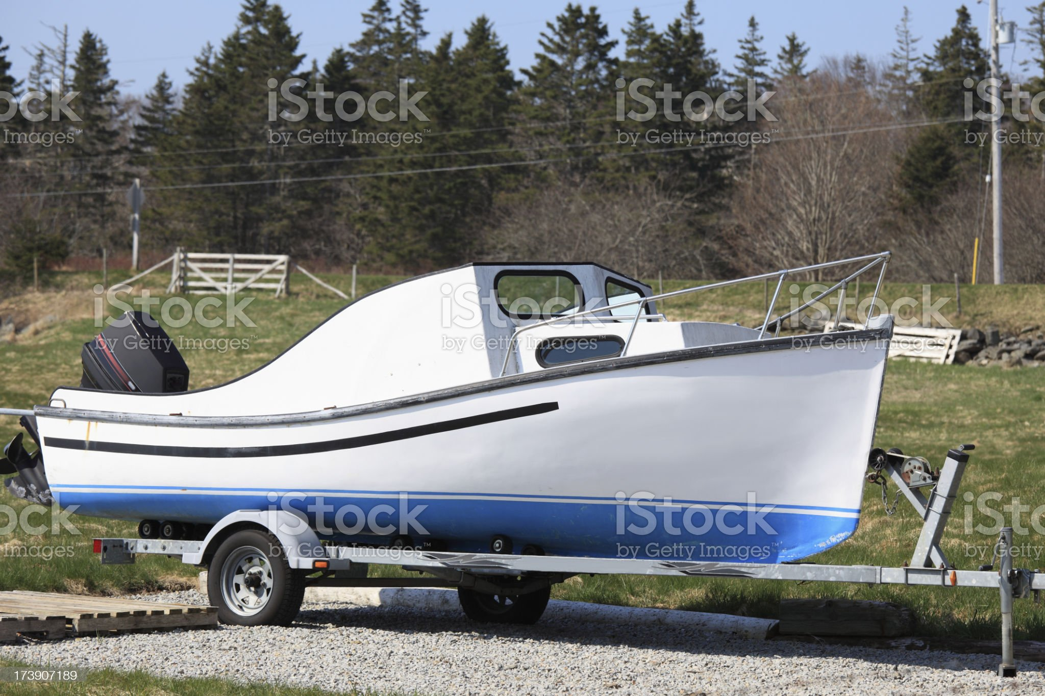 Small fishing boat on a trailer royalty-free stock photo