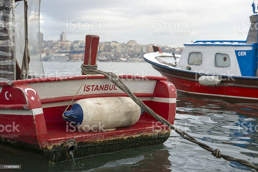 Small fishing boats in Istanbul royalty-free stock photo
