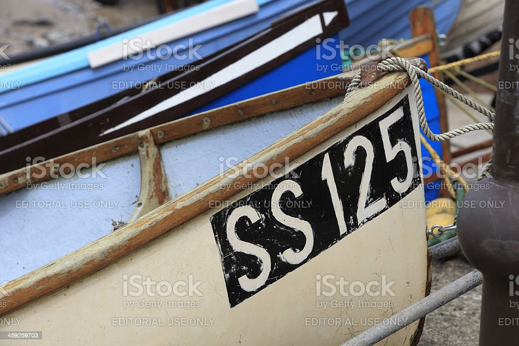 small fishing boats from St. Ives in a row royalty-free stock photo