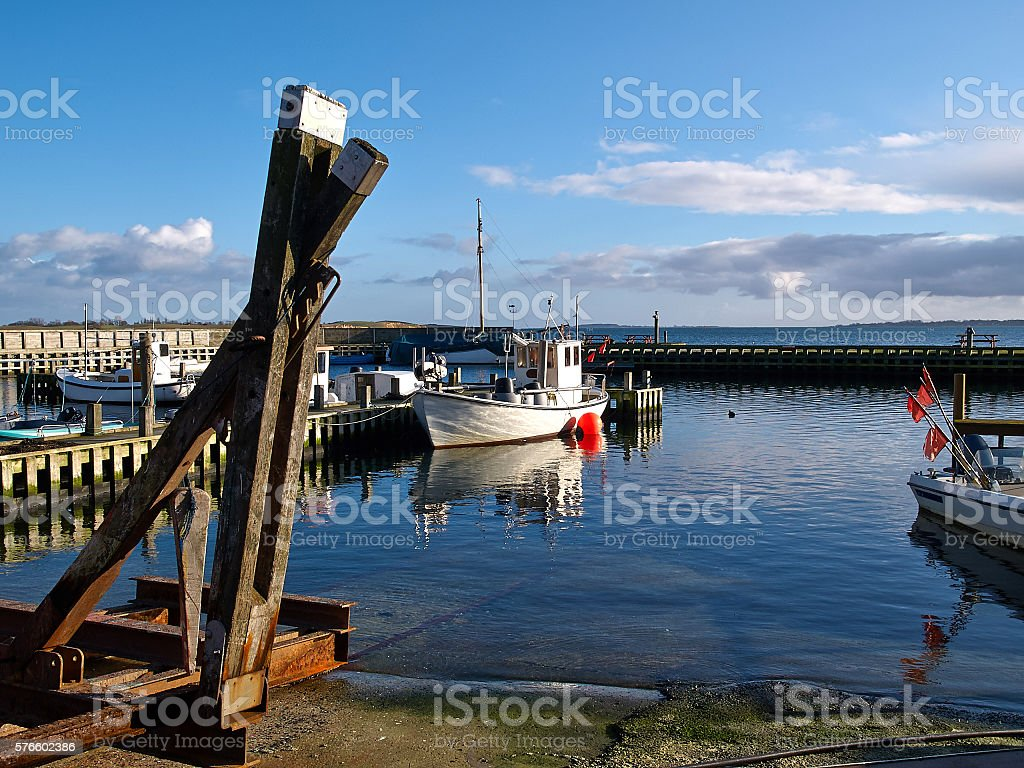 Small fishing boats in a harbour at Funen Denmark stock photo