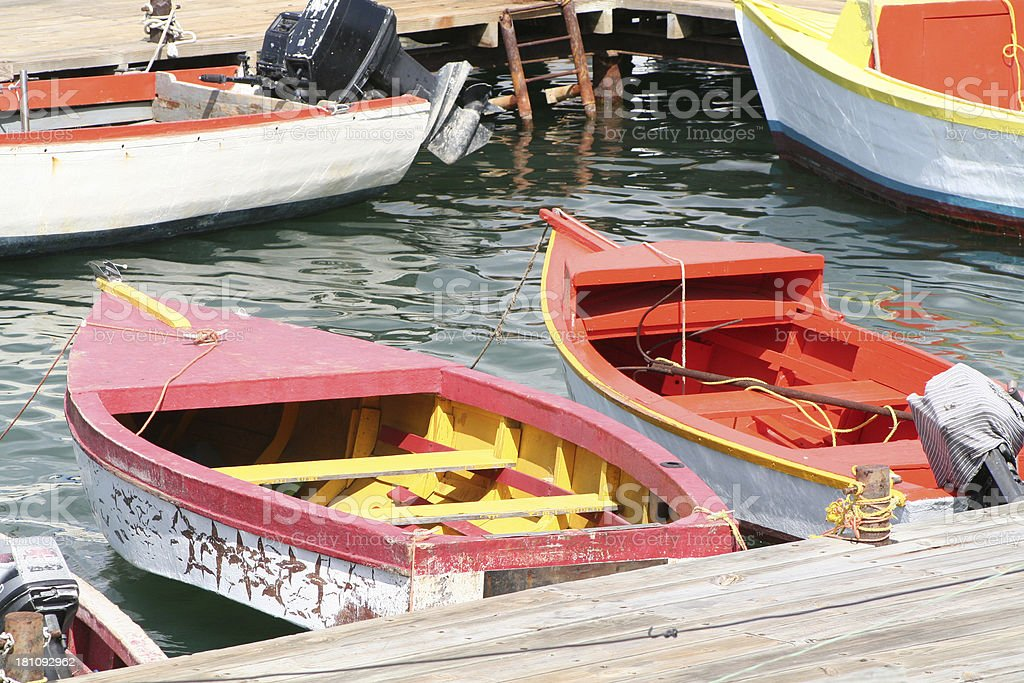 Small fishing boats in the Caribbean royalty-free stock photo