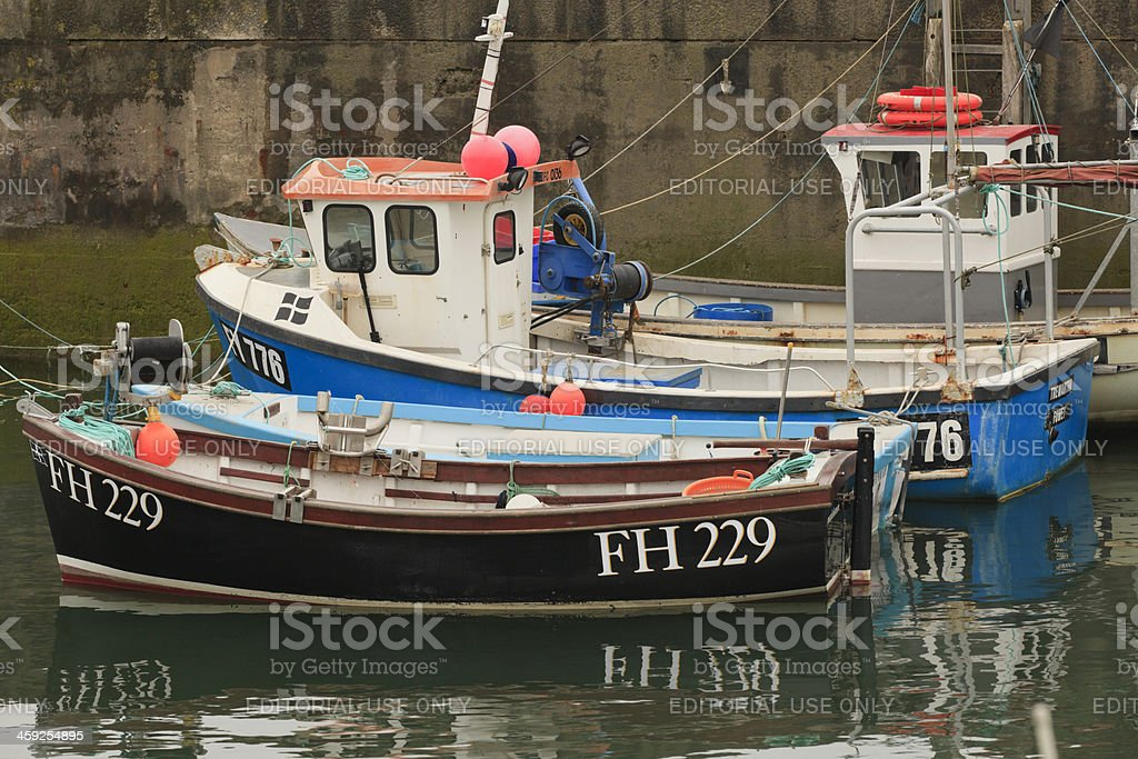 small fishing boats in the harbour of Padstow stock photo