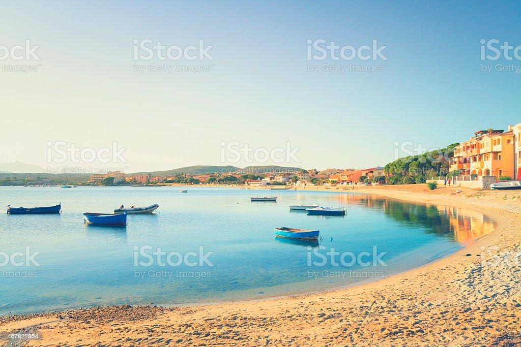 Small fishing harbor in sardinia stock photo