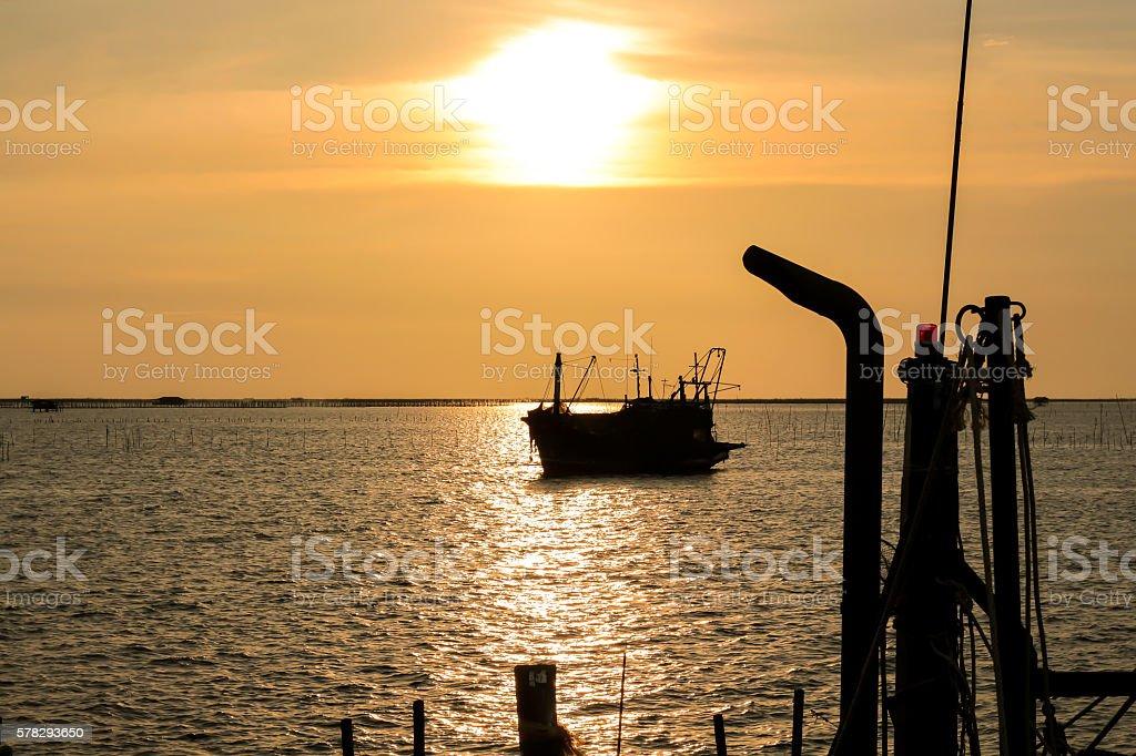 Small fishing port During dusk stock photo
