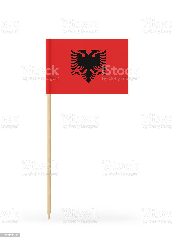 Small Flag of Albania on a Toothpick stock photo