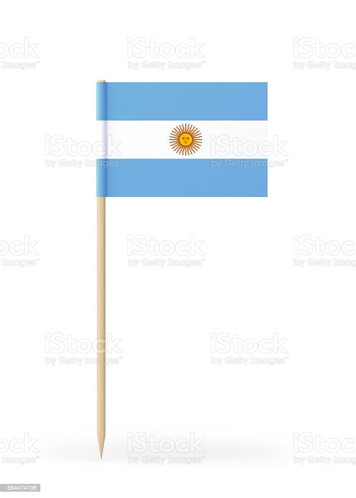 Small Flag of Argentina on a Toothpick stock photo