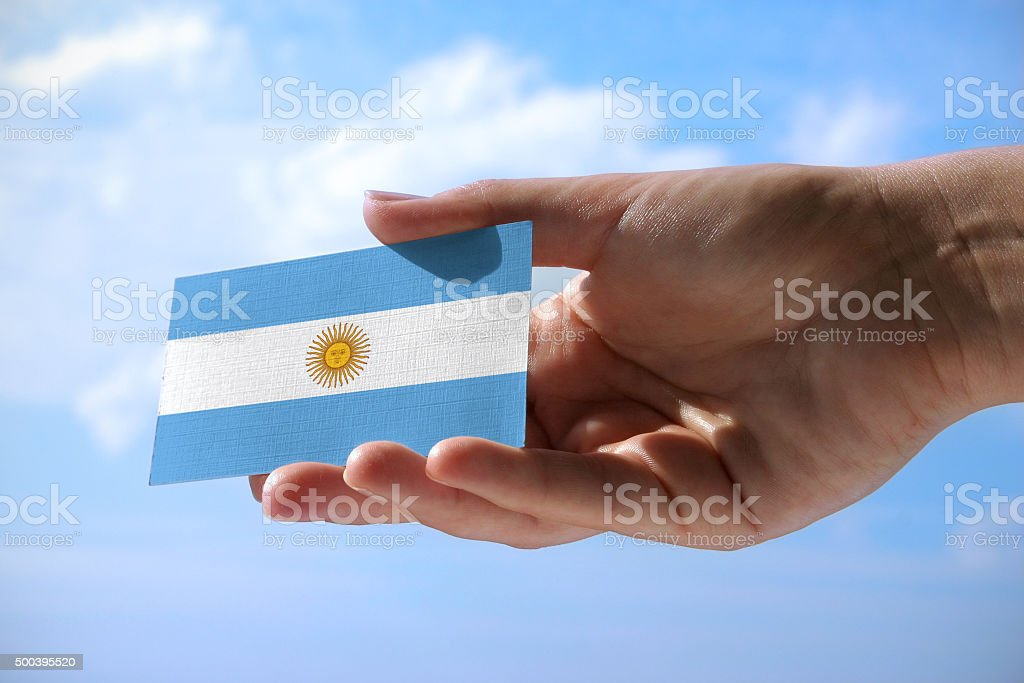 Small flag of Argentina stock photo