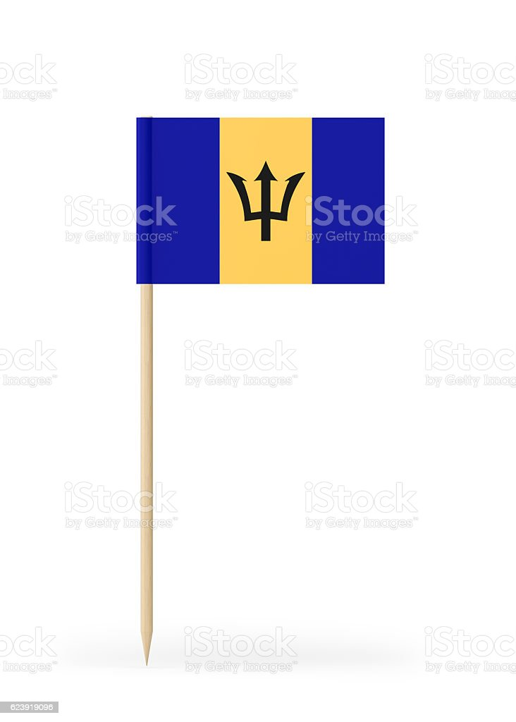 Small Flag of Barbados on a Toothpick stock photo