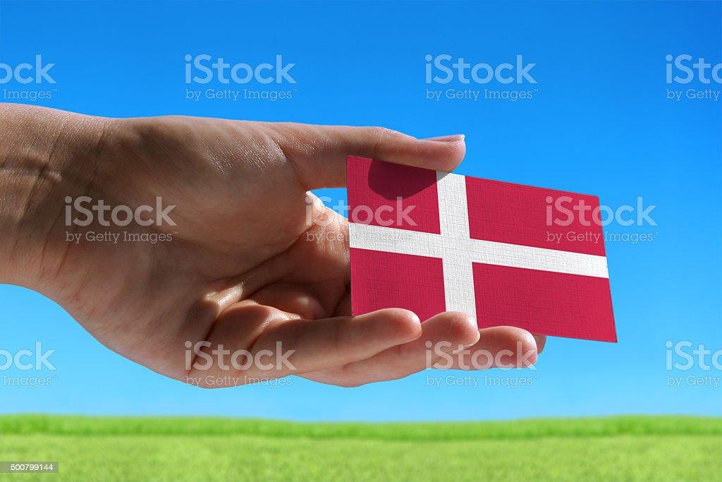 Small flag of Danmark stock photo