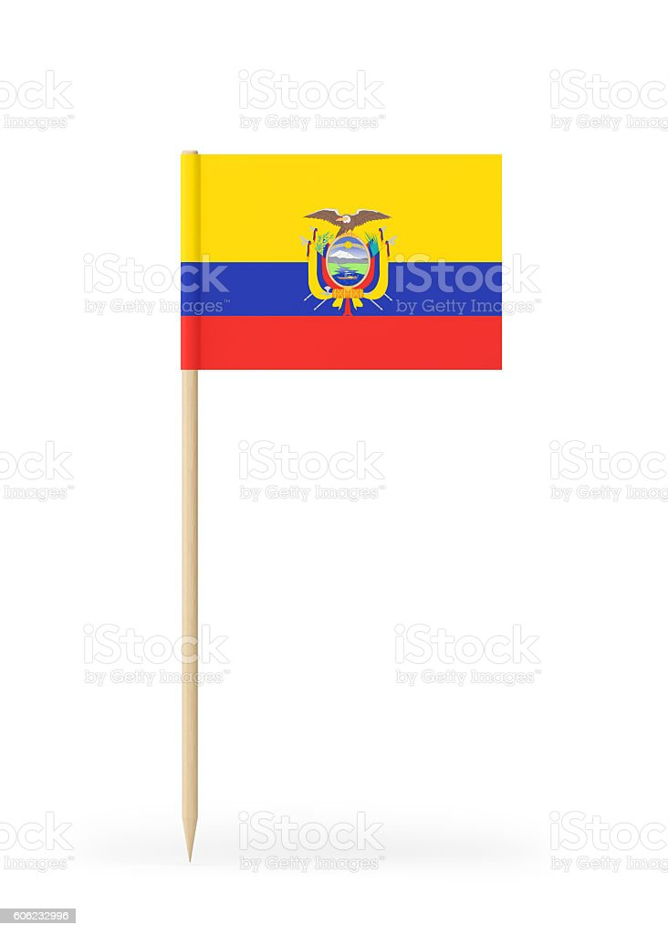 Small Flag of Ecuador on a Toothpick stock photo