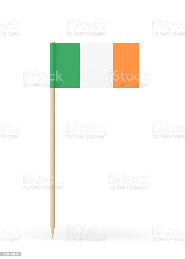 Small Flag of Ireland on a Toothpick stock photo