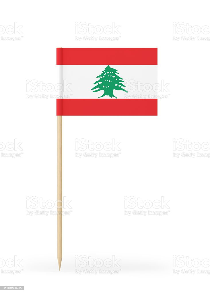 Small Flag of Lebanon on a Toothpick stock photo