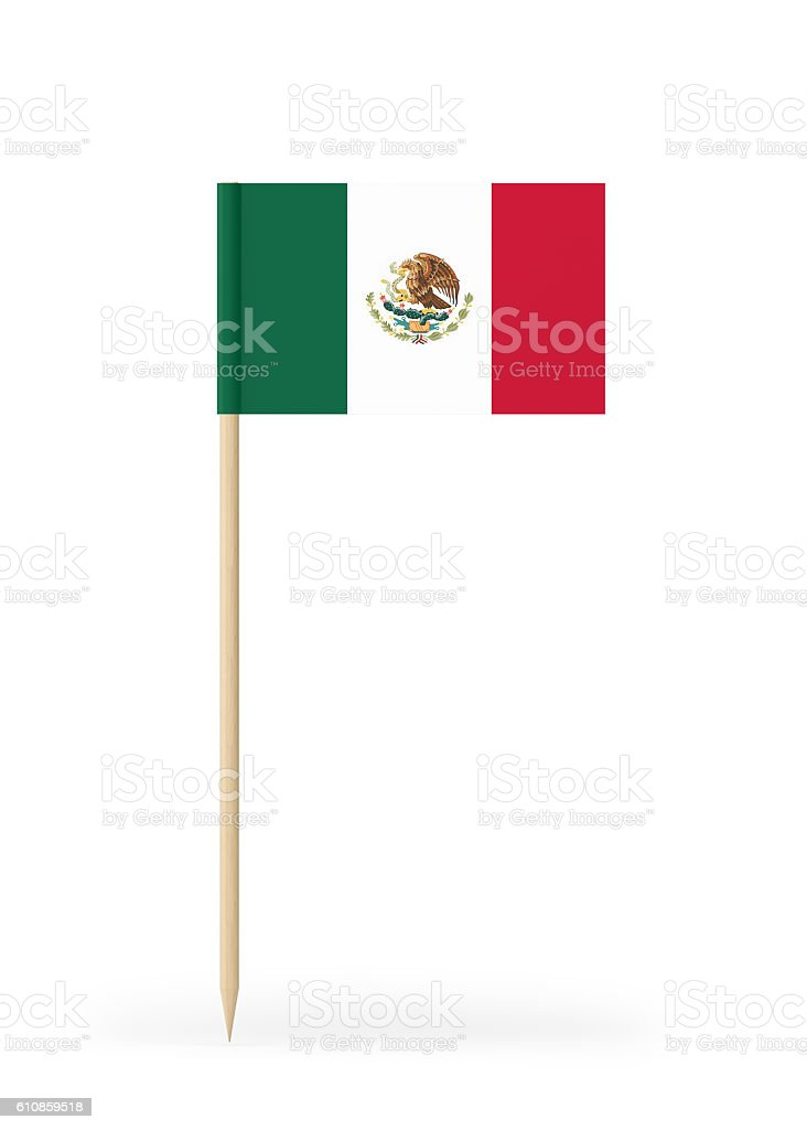 Small Flag of Mexico on a Toothpick stock photo