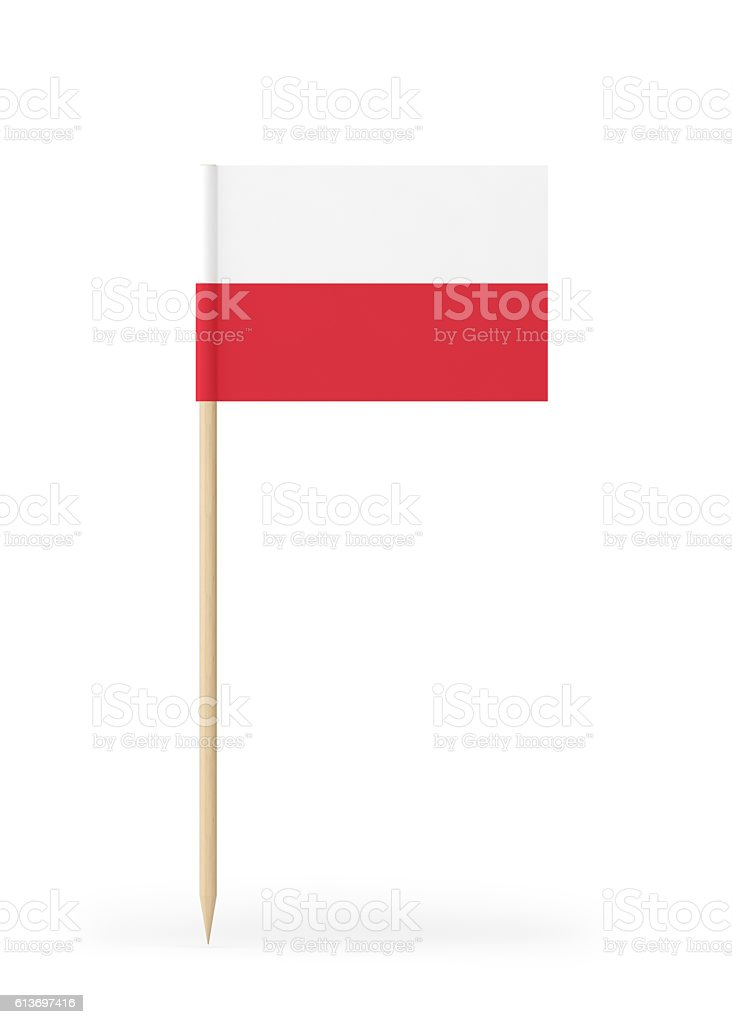 Small Flag of Poland on a Toothpick stock photo