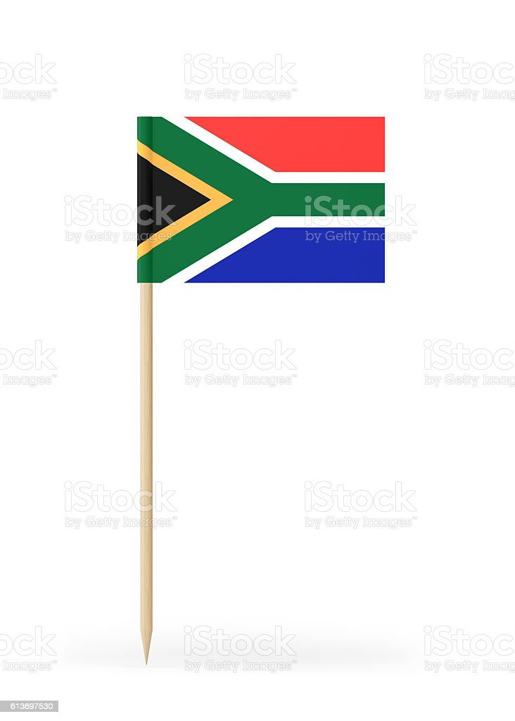 Small Flag of South Africa on a Toothpick stock photo