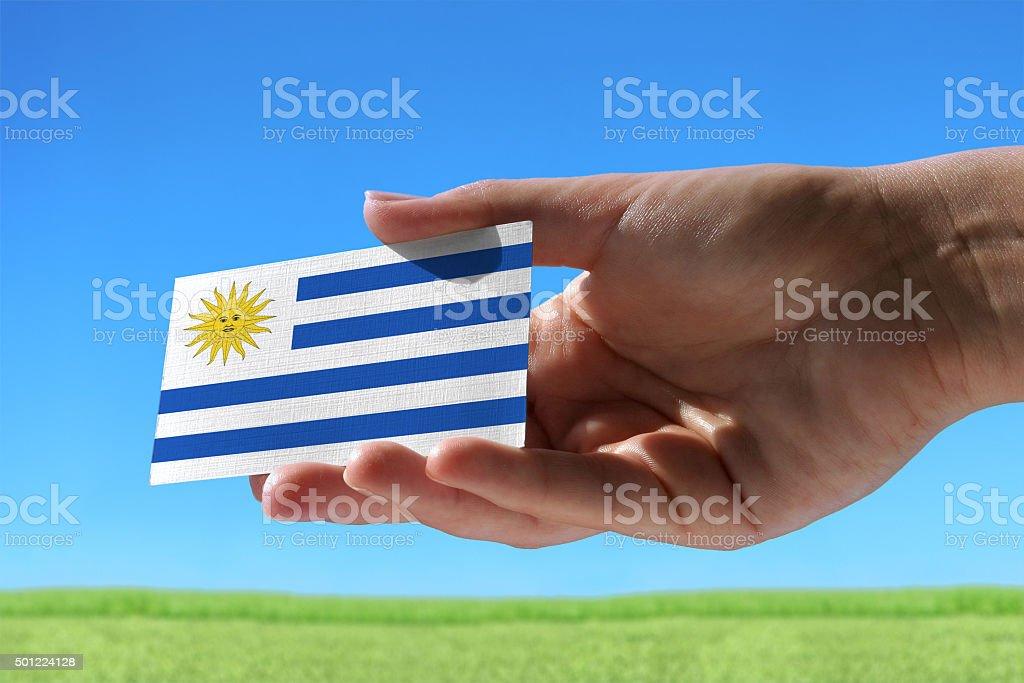 Small flag of Uruguay stock photo