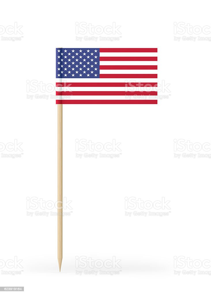 Small Flag of USA on a Toothpick stock photo