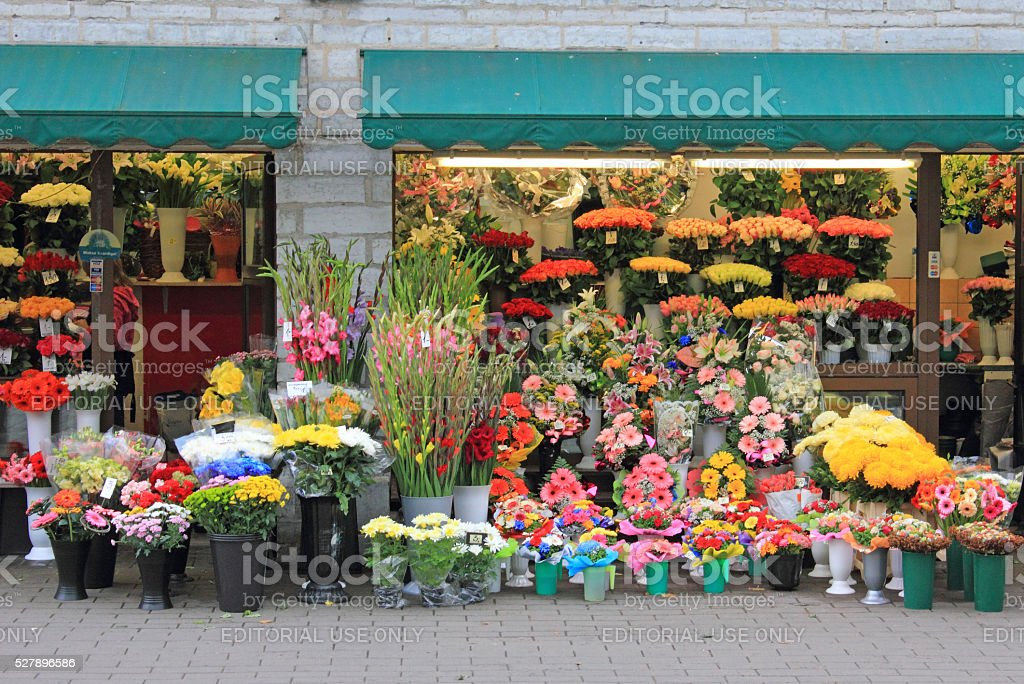 Small flower shop stock photo