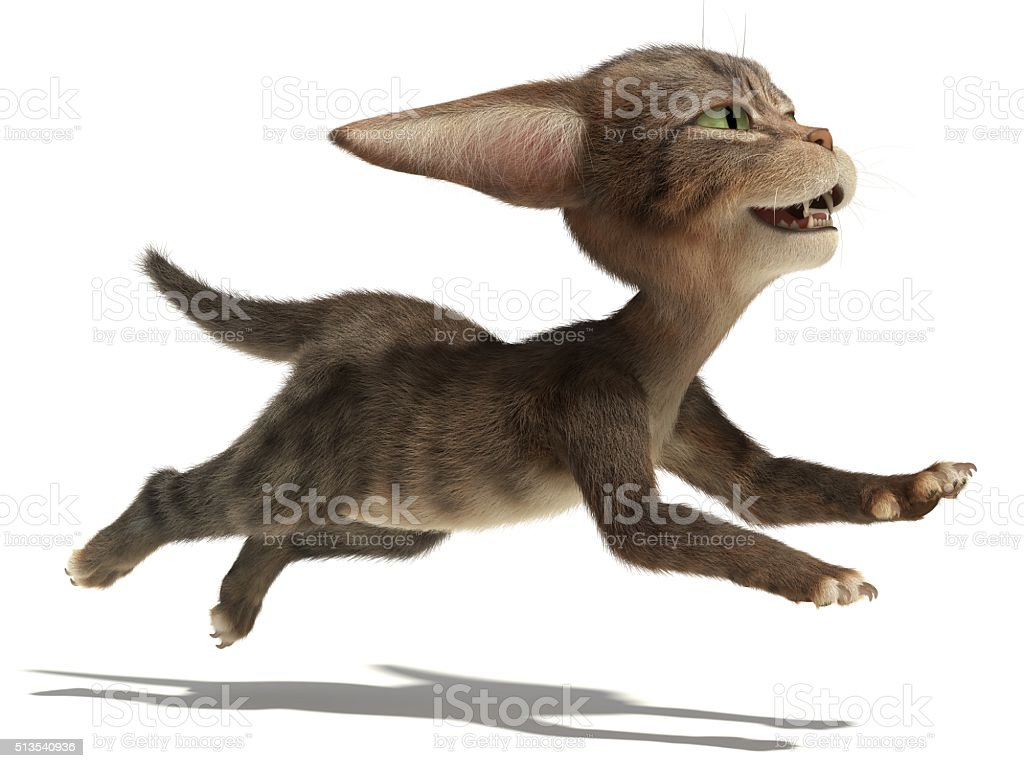 3D small fluffy kitten runs very quickly on white background stock photo
