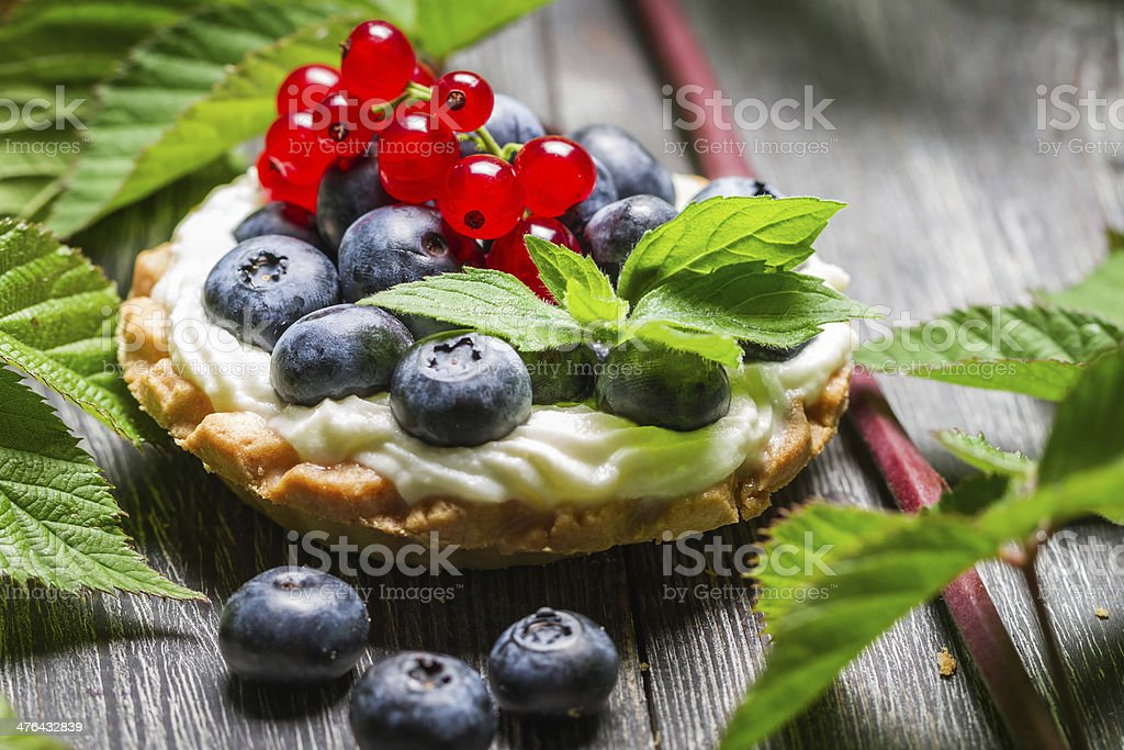 Small forest cupcake with fruits royalty-free stock photo