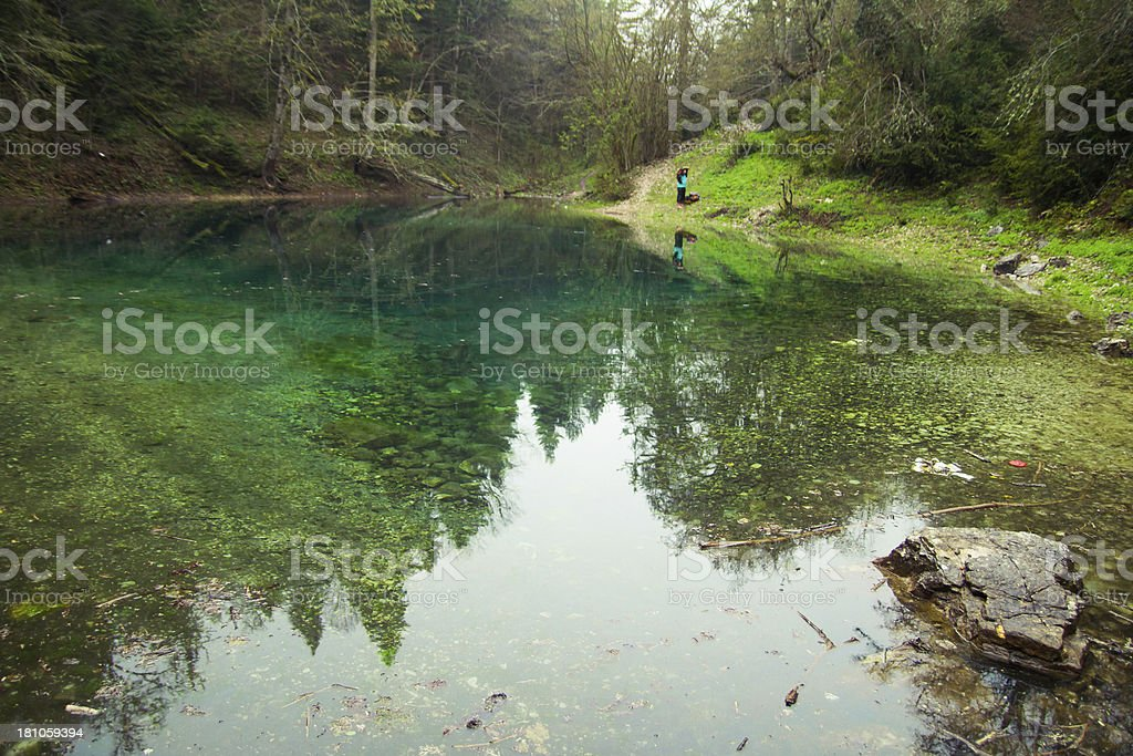 Small forest lake stock photo