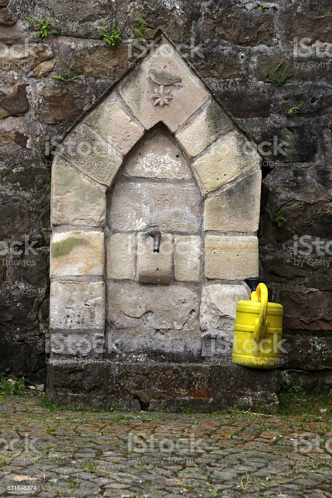 Small fountain in Schwalenberg stock photo