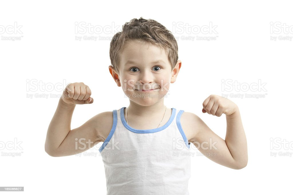 small funny strongman stock photo