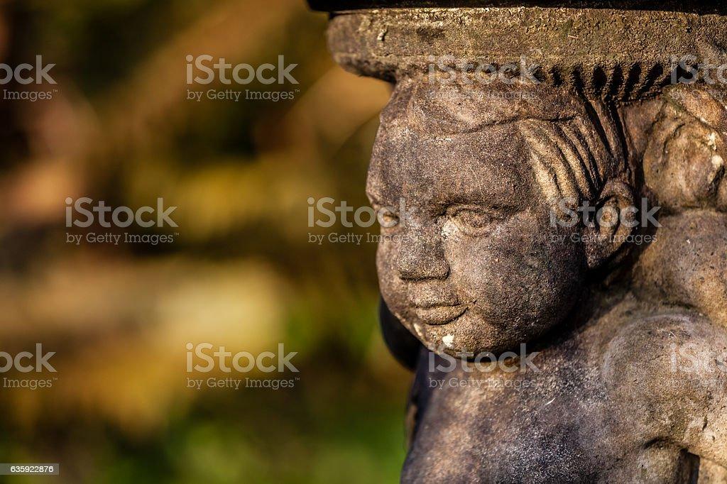 Small garden fountain close up stock photo