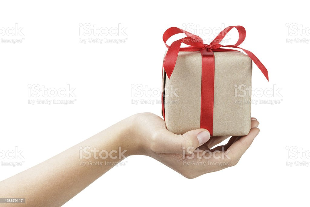 small gift box with ribbon bow in female hand stock photo