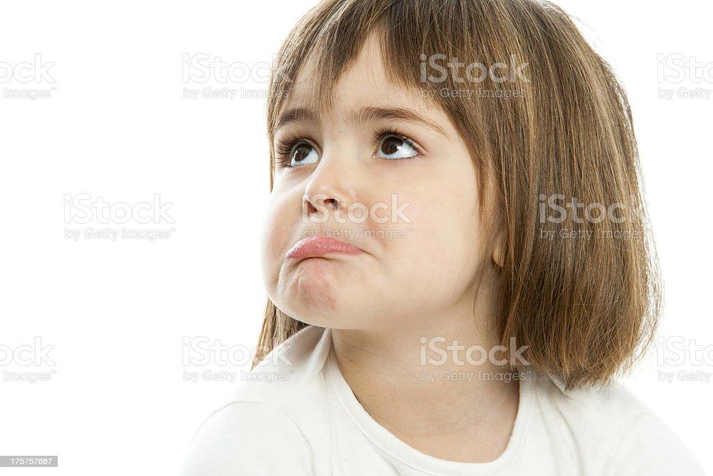 Petite fille remonter les lèvres. photo libre de droits