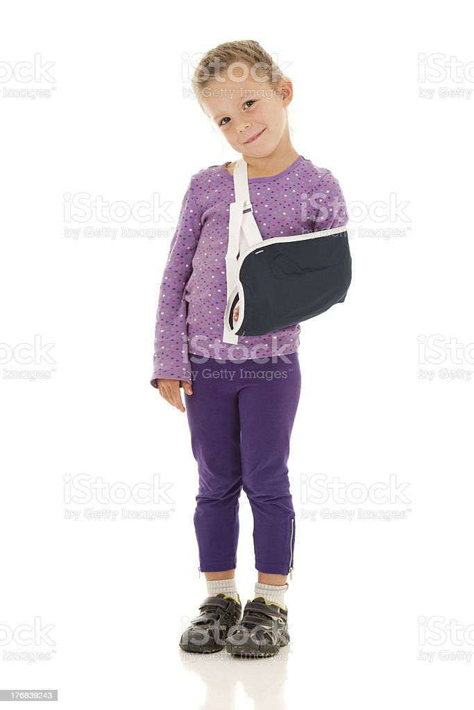 Small Girl with Broken Arm but Big Smile stock photo