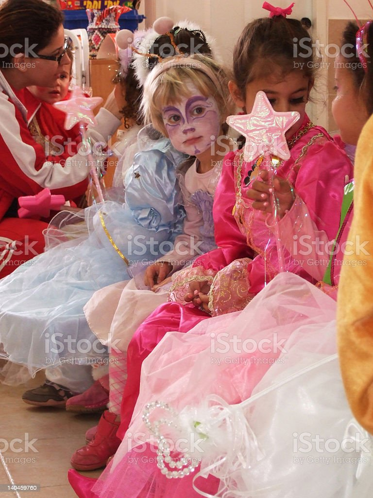 small girls dressed as fairy and princess stock photo