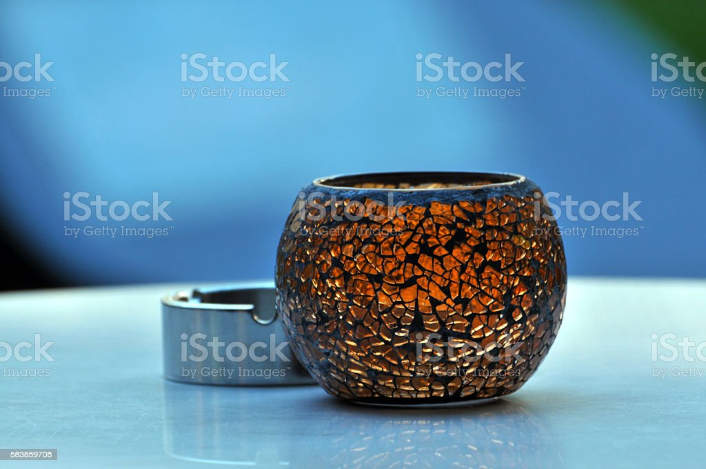 Small glass vase and Ashtray stock photo