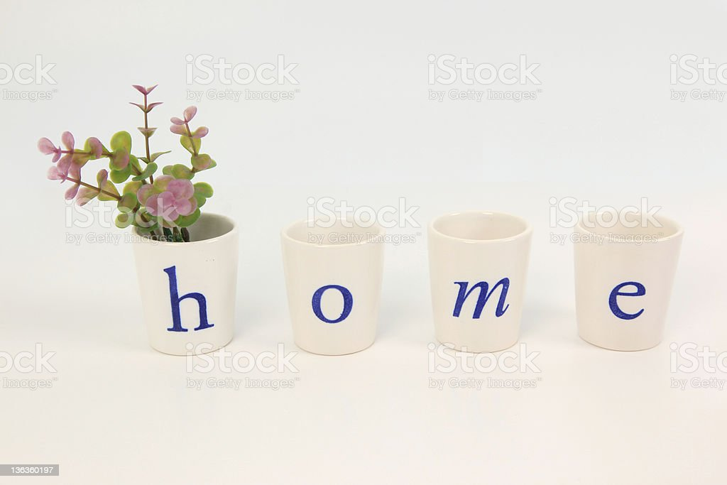 small glasses paint letter home on white background royalty-free stock photo